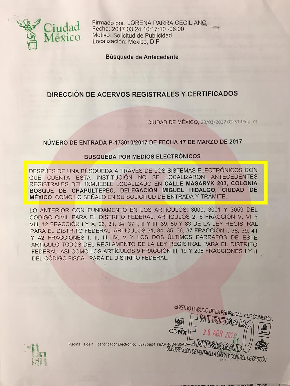 Registro publico de la propiedad cdmx